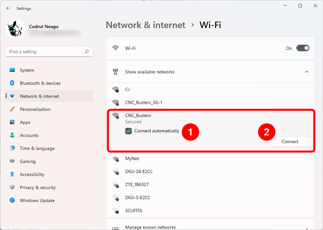 Selecting the Wi-Fi network you want to connect to