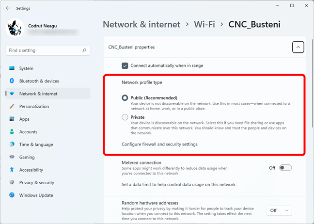 How to set the Wi-Fi network as Private or Public in Windows 11