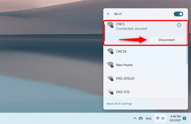 Disconnecting Windows 11 from Wi-Fi
