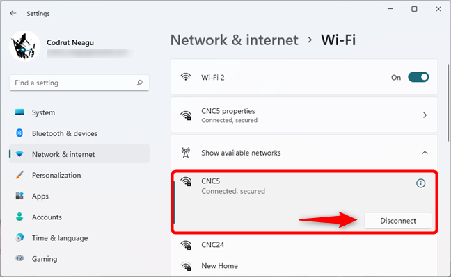 Disconnect Wi-Fi from the Settings app