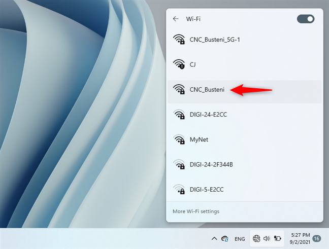 Selecting the Wi-Fi network to connect to