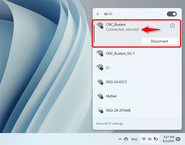 Windows 11 has connected to Wi-Fi