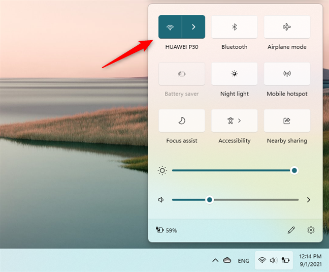 The Wi-Fi button from Windows 11's quick actions fly-out