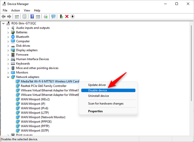 Disable Wi-Fi in Windows 11 from the Device Manager