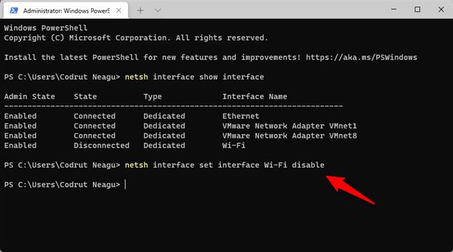 The command that disables Wi-Fi in Windows 11