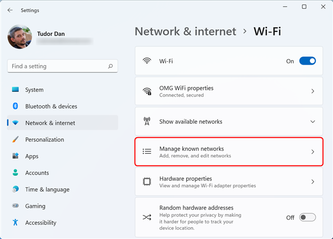 Select Manage known networks to see the list of saved networks