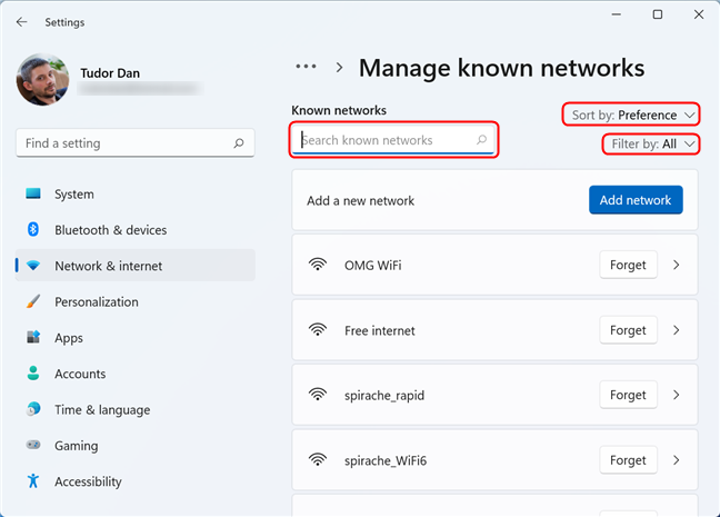 Search, sort or filter the Wi-Fi networks