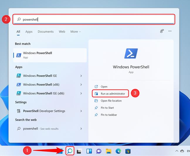 Run PowerShell as administrator in Windows 11