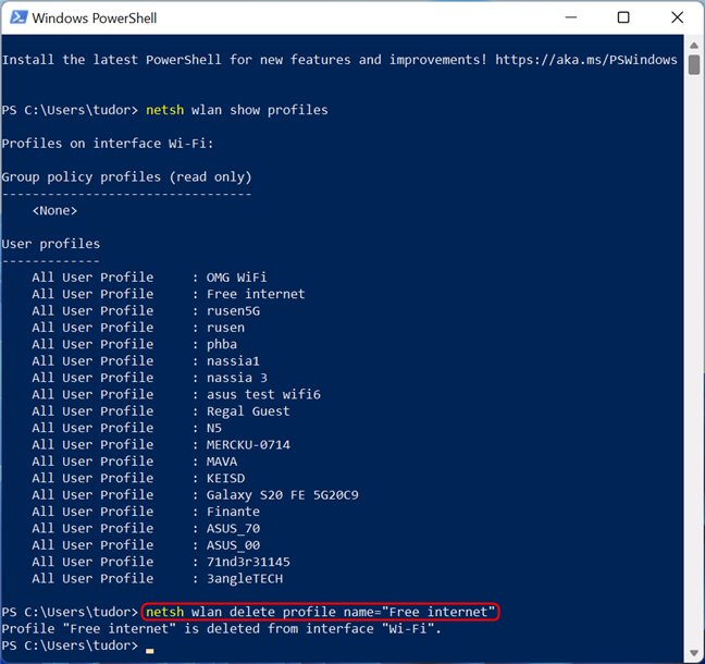 Delete saved Wi-Fi network using the netsh command