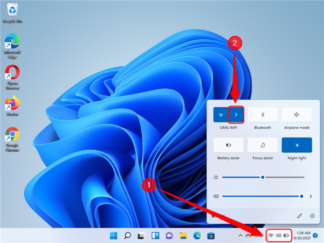 Open Quick Settings in Windows 11
