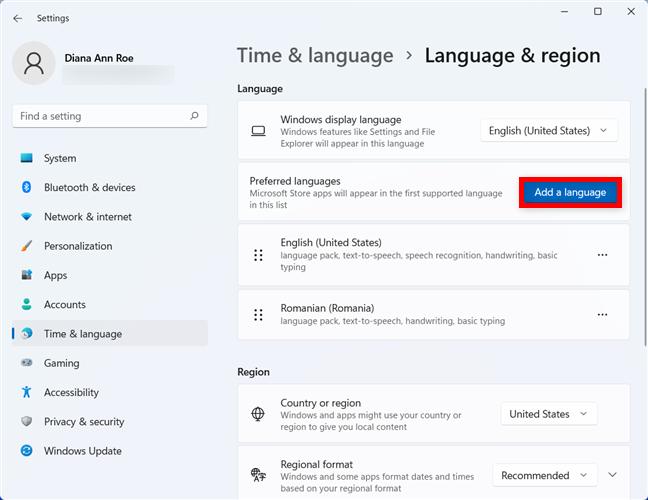 Adding a language to Windows 11