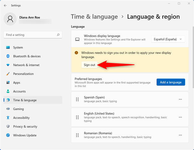 Sign out to finish changing the Windows 11 language