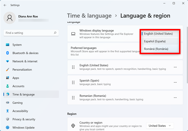 Change the Windows 11 display language when you have the language pack