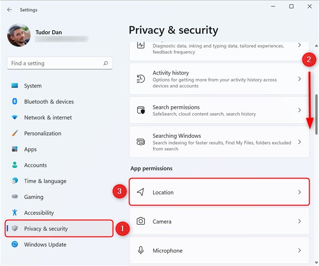Select Privacy & security in the Settings menu, then click on Location