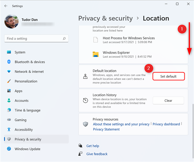 Setting the Default location in Windows 11