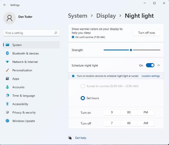 Tweak the Windows 11 Night light settings