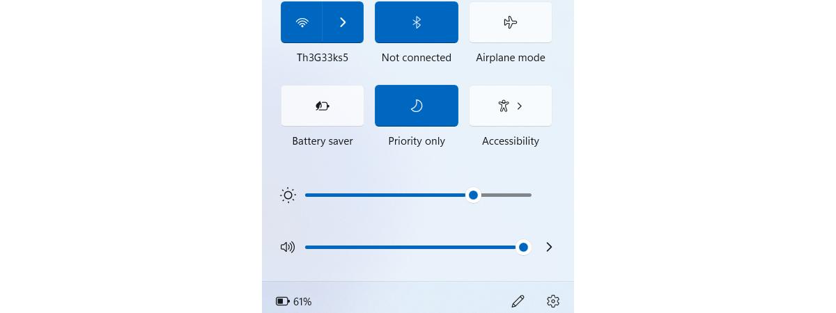 Windows 11 Quick Settings