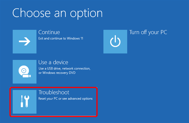 To get to Windows 11 Safe Mode, select Troubleshoot