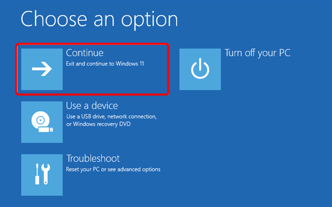 Choose Continue to start Windows 10 in Safe Mode