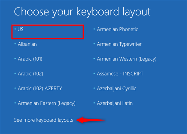 Choosing the keyboard layout for the recovery drive