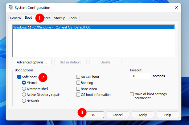 Start in Safe Mode using System Configuration (msconfig)