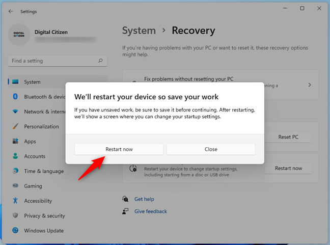 Windows 11 wants to restart your PC