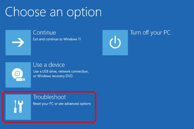 Choose Troubleshoot