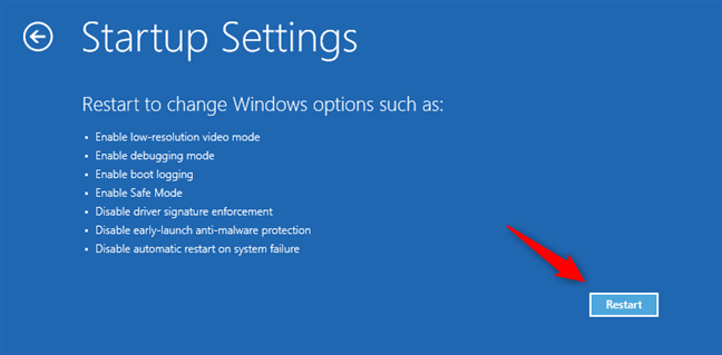Startup Settings: Choose Restart for Windows 11 Safe Mode options