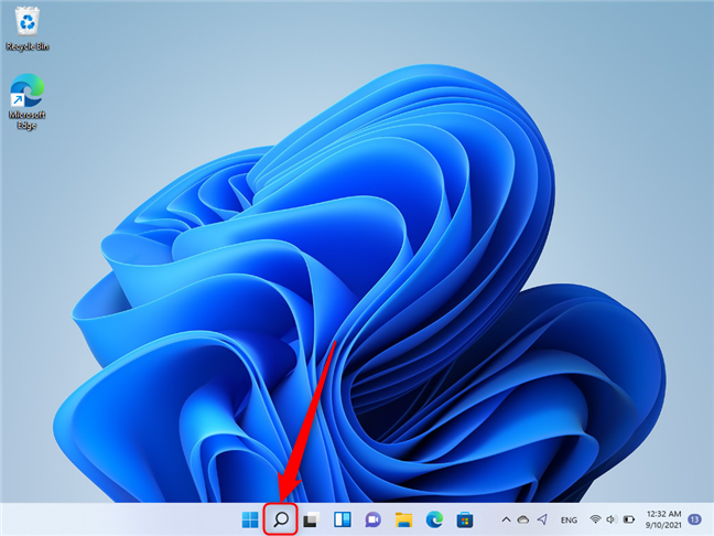 Location of the Windows Search icon on the taskbar