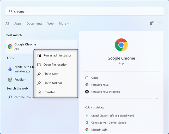 Right-clicking a search result opens a contextual menu with other options