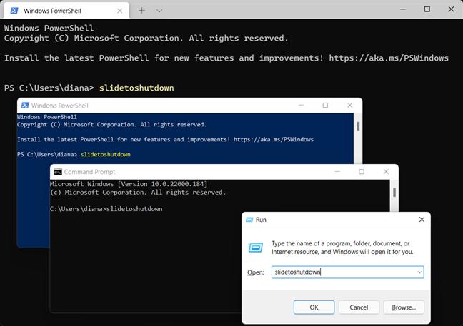 Another Windows shutdown command is slidetoshutdown