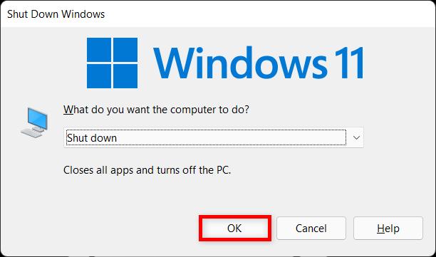 Use the keyboard shortcut for shutdown in Windows 11