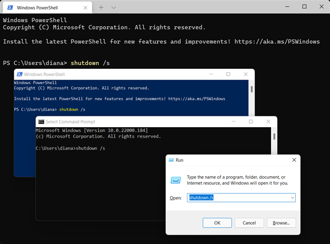 Use the Windows shutdown command in the app you prefer