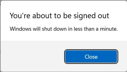 Windows 11 displays a warning before shutting down