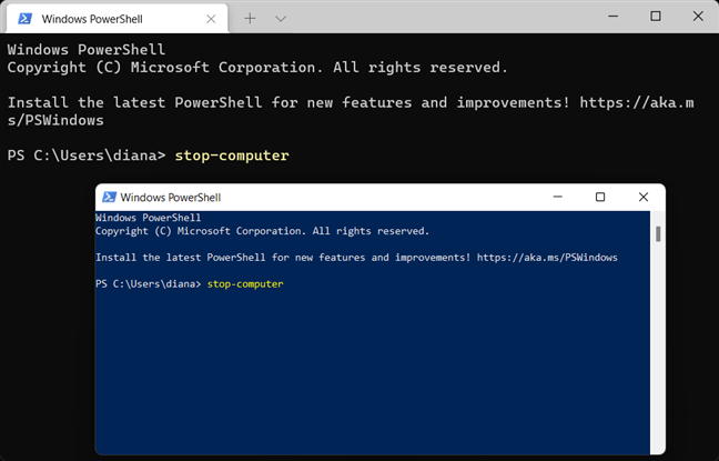 Use the Windows 11 shutdown command for PowerShell and Windows Terminal