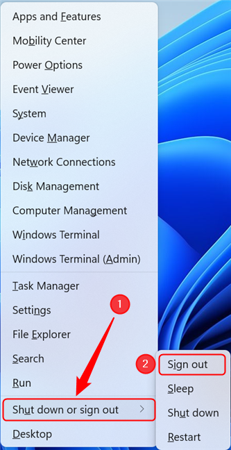 Sign out of Windows 11 using WinX