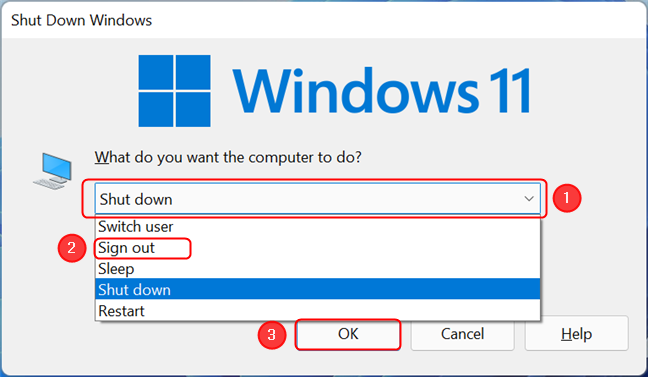 Sign out of Windows 11 using the Shut Down Windows dialog box