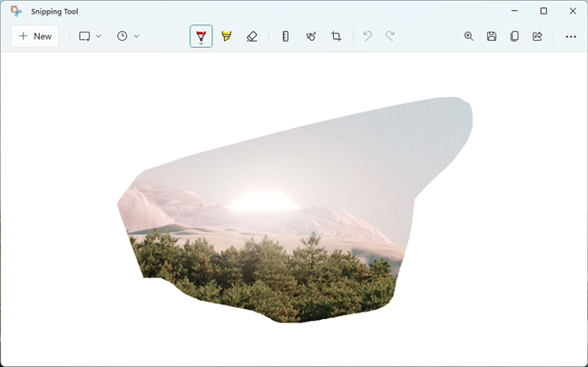 Editing a screenshot taken with the Snipping Tool