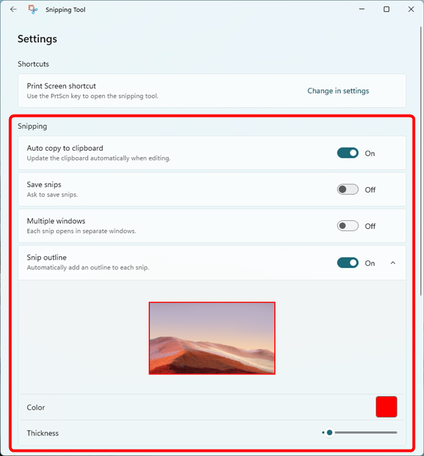 Snipping settings available in Windows 11's Snipping tool