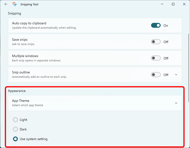 The appearance settings for Windows 11's Snipping tool