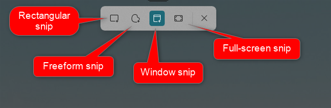 Snip options for taking a screenshot