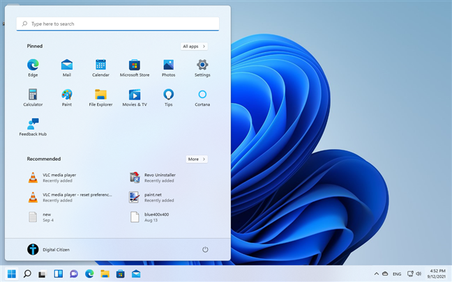 The Start Menu can be shown on the left side too