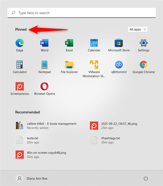 Press on any icon in the Pinned section of the Start Menu for Windows 11