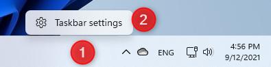 Right-click and access Taskbar settings