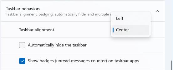 Choose the Taskbar alignment