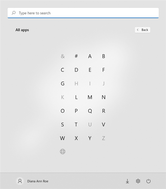 Press on a letter to see the apps in that section