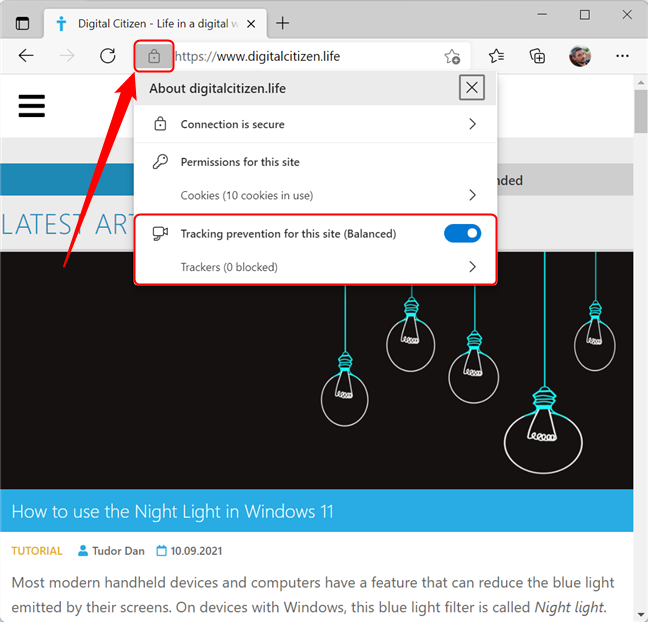 Check what trackers have been blocked in Microsoft Edge