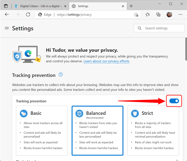 Turn Tracking prevention and and off in Microsoft Edge