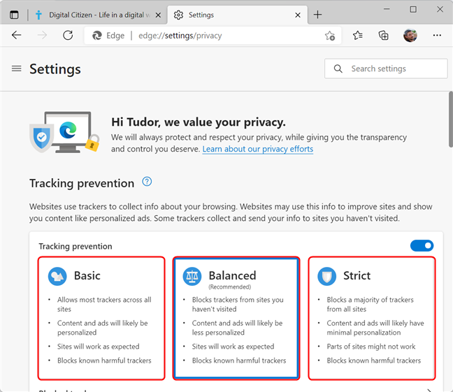 Tracking prevention levels available in Microsoft Edge