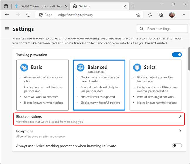See blocked trackers list in Microsoft Edge